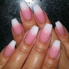 Pink White Nails, White Coffin Nails, Pink Ombre Nails, Pink Manicure, White Acrylic Nails, Love Nails, Pretty Nails, My Nails, Acrylic Nail Designs