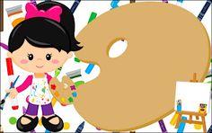 Fazendo a Propria Festa: Kit de Personalizados Gratuitos Tema Pintando o Sete Art Themed Party, Art Party, Flower Background Wallpaper, Flower Backgrounds, Cartoon Kids, Cute Cartoon, School Labels, Kids Vector, Alphabet Art