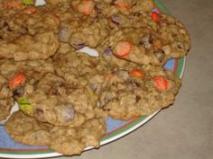 Monster cookies - These are wonderful, flourless cookies - kids and friends love these! Change the color of M's for the occasion.