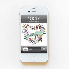 Floral Heart Monogram Phone Wallpaper