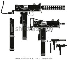 Graphic black and white detailed silhouette uzi submachine gun with ammo clip and rifle butt. Isolated on white background. Submachine Gun, Chest Tattoo, Swords, Icon Set, Body Art Tattoos, Tattos, Weapon, Vector Art, Chill