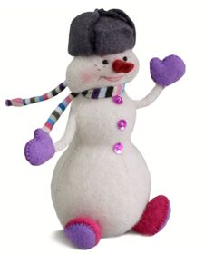 Snowman in shapka (Russian hat with earflaps).15х13х6 cm. Felt - 100% wool, filler - polyester batting. Hand embroidery, hand gathering.
