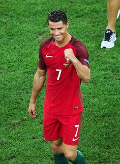 #EURO2016 Cristiano Ronaldo of Portugal celebrates after winning the Euro 2016 quarterfinal football match between Poland and Portugal at the Stade Velodrome...
