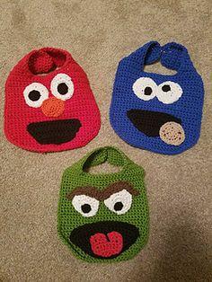 Sesame Street Inspired Bibs pattern by Jacqueline Victor Crochet Baby Bibs, Newborn Crochet, Crochet For Kids, Knit Crochet, Crochet Hats, Quick Crochet Patterns, December Baby, Bib Pattern, Baby Kind
