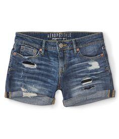 Amazon.com: Aeropostale Women's Destroyed Medium Wash Denim Midi Shorts: Clothing