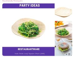 Restaurantware Eco-Friendly Indo Palm Leaf Square Plate: Perfect for Parties and Catering Events - Natural Color – Disposable Biodegradable Party Plates – Square Plates, Party Plates, New Years Party, For Your Party, Christmas And New Year, Rustic Wood, Biodegradable Products, Catering, Bowls
