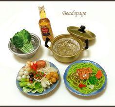 1/6 Scale Dollhouse Miniature Chinese Meal Sukiyaki by BEADSPAGE, $23.00