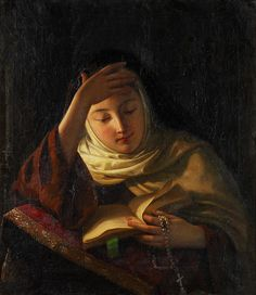 Sergei Ivanovich Gribkov (Russian, 1820-1893). Young nun at prayer  by sofi01, via Flickr