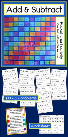 This fun, hands-on activity will have your whole class working together to solve addition and subtraction problems (within 20) to complete a 100s pocket chart! Perfect for first grade! $