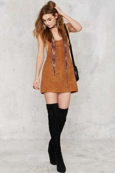 Stud Me Tender Apron Dress - Brown - Clothes | Solid