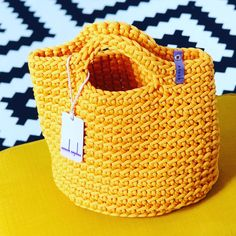 Crocheted handbag. Tote bag. Handmade market bag. Knitted bag. Scandinavian style. Sunflower Yellow colour. Anouk Seydou.