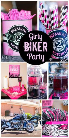Girly biker bash with a pink, gray, black and white color palette and a temporary tattoo station Bachelorette Party Themes, Birthday Party Themes, 2nd Birthday, Birthday Ideas, Biker Birthday, Motorcycle Birthday, Biker Party, Motorcycle Party, Harley Davidson