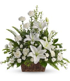 Peaceful White Lilies Basket, Funeral Flowers: Whether you send this beautiful arrangement to the family home or to the service, all will appreciate its All Flowers, White Flowers, Beautiful Flowers, Wedding Flowers, Flowers Garden, Tropical Flowers, Wedding Dress, Church Flowers, Flowers Online