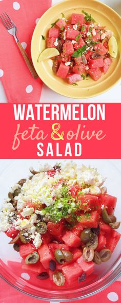 This Watermelon, Feta and Olive Salad is the perfect light summer dish. Made with ripe watermelon, salty feta, Greek olives, fresh mint, and zesty lime, this fruity salad is a lovely combination of sweet and savory.