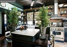 cocina rustica turquesa, mobiliarios oscuro y electrodomésticos en acero