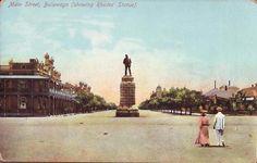 Main Street, Bulawayo showing Rhodes Statue World History, Family History, 11th Century, Places Of Interest, Zimbabwe, Beautiful Places, Amazing Places, Main Street, Statue Of Liberty