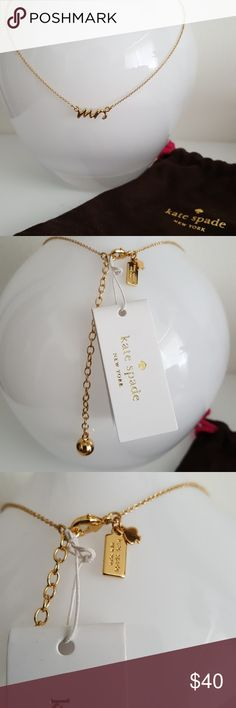 Kate Spade Mrs Necklace NWT Gold colored necklace by Kate Spade. It's such a feminine gold necklace with gorgeous details. It's brand new, never worn, with tag still on. Comes with its original bag. Kate Spade Jewelry Necklaces