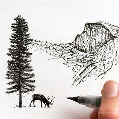 Brush pen sketch by Sarah Lokke. - Inspiration for pen and ink artwork.