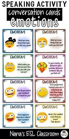 Ignite conversation in your classroom with these engaging conversation starter cards about emotions and feeling. A total of 40 cards with one or more questions per card. Learning English For Kids, English Lessons For Kids, Learn English Words, Teaching English, French Lessons, Spanish Lessons, English Class, Teaching Spanish, English Language Learners