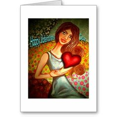 Shop 'Happy Valentines Day' Card — Girl Holding Heart created by cheriedirksen. Happy Valentines Day Card, Greeting Cards, Disney Princess, Disney Characters, Heart, Disney Princes