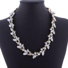 Unique new queen rhinestone Leaf crystal bead elegant bib necklace hairband #Handmade #Chain