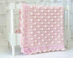 Crochet Baby Blanket PATTERN 12 - Crochet Blanket PATTERN 12 - Sugar Baby Pink Baby Blanket - Instant Download Pattern