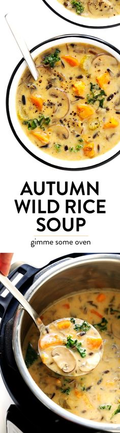 This Cozy Autumn Wild Rice Soup is the perfect fall comfort food! It's easy to m… Advertisements This Cozy Autumn Wild Rice Soup is the perfect fall comfort food! It's easy to make in the Instant Pot (pressure cooker), Crock-Pot… Continue Reading → Crock Pot Recipes, Slow Cooker Recipes, Soup Recipes, Vegetarian Recipes, Cooking Recipes, Healthy Recipes, Vegetarian Soup, Free Recipes, Recipes Dinner