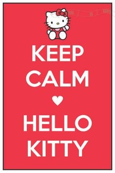 Keep Calm -heart- Hello Kitty (Sanrio) 12 x 18 Keep Calm and Carry On Parody Poster