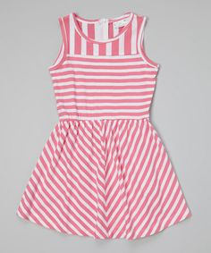 Look what I found on #zulily! Pink Stripe A-Line Dress - Toddler & Girls #zulilyfinds