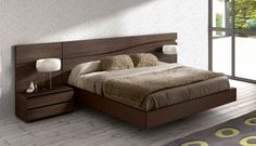 Furniture. Amazing and Awesome Furniture Platform Bed Designs. Elegant Modern Wooden Chocolate Furniture Platform Bed Design with Floating Rectangle Wooden Chocolate Elegant Bedroom Furniture Low Profile Bed and Wall Mounted Wooden Chocolate Elegant Integrated Furniture Headboard Bed With Double Sideboard Beds