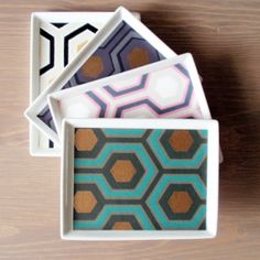 David Hicks Hexagon set of four valet trays 1960s by naturalhome, $55.00