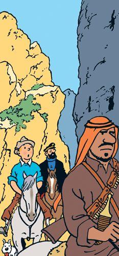 Le Siq vue par Hergé - Tintin dans le défilé de Pétra