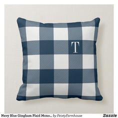 Shop Navy Blue Gingham Plaid Monogrammed Throw Pillow created by FeistyFarmhouse. Navy Blue Pillows, Silk Pillow, Blue Gingham, Monogram Letters, Plaid Pattern, Custom Pillows, Throw Pillows, Tartan, Home Decor
