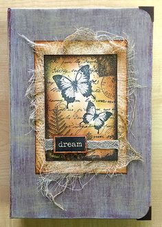 Altered Configurations Book - class taught by Rachel Greig on the 2015 Stamping Cruise using Darkroom Door Butterfly Garden Collage Stamp.