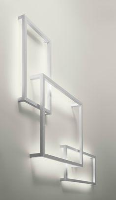 Fluorescent aluminium wall lamp FRAMEWORK Lightecture Line :: AXO LIGHT | design Manuel Vivian