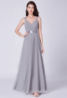 Ever-Pretty Womens A-Line V-Neck Bridesmaid Wedding Party Dresses Grey Long Maxi Plus Size for Women 07502 US 4 Allure Bridesmaid Dresses, Burgundy Bridesmaid Dresses Long, Wedding Party Dresses, Bridal Dresses, Farewell Dresses, Evening Party Gowns, Business Dresses, Formal Dresses, Prom Dresses