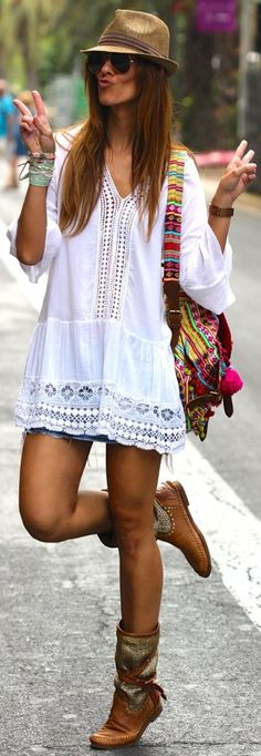 Kuka  Chic White Women's Crochet Detail Embroidered Loose Tunic