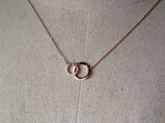 Pavé Two Circles Necklace in Rose Gold Dainty by GreatLakesShop