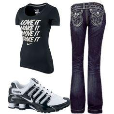 """love it, make it, move it, shake it"" nike shirt, rock revival jeans, and nike shox.."