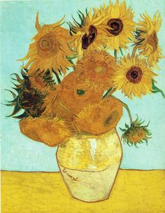 Sunflowers on Blue, 1888 Artist: Vincent Van Gogh. Vincent Willem van Gogh was a Dutch post-Impressionist painter whose work, notable for its rough beauty, emotional honesty and bold color. Vase With Twelve Sunflowers, Van Gogh Sunflowers, Van Gogh Art, Art Van, Flores Van Gogh, Monet Giverny, Claude Monet, Framed Art Prints, Painting Prints