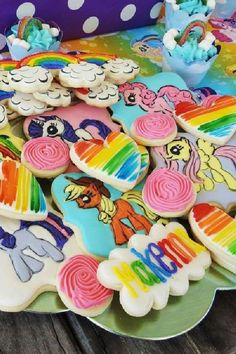 Check out this fun My Little Pony birthday party! The cookies are so colorful! See more party ideas and share yours at CatchMyParty.com #catchmyparty #partyideas #mylittlepony #girlbirthdayparty #mylittleponyparty #cookies My Little Pony Cake, My Little Pony Birthday Party, Unicorn Birthday Parties, Girl Birthday, Food Ideas, Party Ideas, Colorful, Cakes, Check