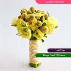 Send unique bunch of flowers every time. For more visit http://www.heart2heart.in/send-flower-bunch.  #flowers #UniqueBunch #heart2heart #yellow