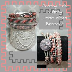 Peachy Pink & Gray Triple Wrap Bracelet, Beaded Bracelet, Ceylon Gray Bracelet, Ladder Bracelet, Patina Button, Gift for Her by SHBeadCreations on Etsy