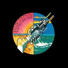 La grafica tecnologica, tipica dello studio Hipgnosis. La stretta di due mani robotiche e sullo sfondo un cerchio dove ogni spicchio rappresenta uno degli elementi principali. Questa  la copertina di Wish You Were Here dei Pink Floyd Rock Album Covers, Music Album Covers, Pink Floyd Album Covers, Pink Floyd Albums, Classic Album Covers, Pink Floyd Cover, Music Albums, Music Songs, Music Icon
