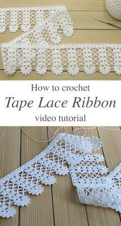 Crochet Tape Lace Ribbon Tutorial | CrochetBeja Single Crochet Stitch, Double Crochet, Crochet Lace, Crochet Hooks, Crochet Borders, Crochet Stitches, Crochet Patterns, Crochet Edgings, Knitting Increase