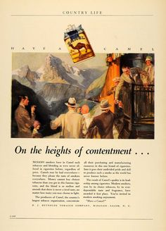 This is an incredible original 1927 color print ad for Camel Turkish and Domestic Blend Cigarettes, a product of R.J. Reynolds Tobacco. CONDITION This 84+ year old Item is rated Near Mint / Very Fine+