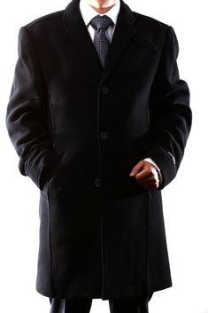 aa939f124f Mens 3/4 Length Black Wool Winter Coat Size 42R SML-W93513C-93504