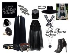 """""""The Raven Queen"""" by stein-anabelle on Polyvore featuring Elie Saab, Maison Michel, Charlotte Russe, Andrea Fohrman, Shamballa Jewels and Alexander McQueen"""