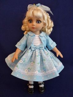 "Blue Sun Dress & Jacket Outfit for 10"" Patsy & Ann Estelle Tonner Dolls by Apple"
