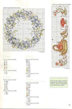 0 point de croix grille et couleurs de fils couronne de myosotis